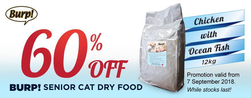Burp Senior Cat Dry Food Promotion